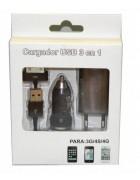 CARREGADOR REDE 3 EM 1 IPHONE 3G,3GS,4G,4S PRETO