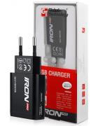 CARREGADOR SECRETARIA MICRO USB GT IRON 2 EM 1 PRETO BLISTER
