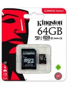 CARTÃO MEMÓRIA KINGSTON MICRO SD CARD XC 64GB CLASS 10 CANVAS SELECT 80R UHS-I C/ ADAPTADOR SD ORIGINAL BLISTER
