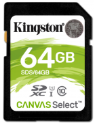 CARTÃO MEMÓRIA KINGSTON SD CARD HC 64GB CLASS 10 CANVAS SELECT 80R UHS-I ORIGINAL BLISTER