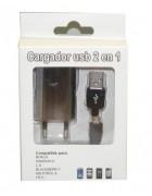 CARREGADOR SECRETARIA 2 EM 1 MICRO USB PRETO