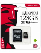 CARTÃO MEMÓRIA KINGSTON MICRO SD CARD XC 128GB CLASS 10 CANVAS SELECT 80R UHS-I C/ ADAPTADOR SD ORIGINAL BLISTER