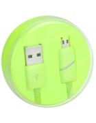 """CABO DADOS MICRO USB """"RING"""" VERDE (1 METRO) BLISTER"""