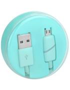 """CABO DADOS MICRO USB """"RING"""" AZUL (1 METRO) BLISTER"""