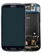TOUCHSCREEN C/ ARO E DISPLAY SAMSUNG i9305 S3 LTE PRETO ORIGINAL (GH97-14106B)